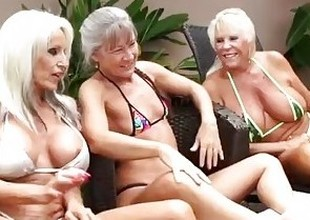 3 Grandmas Get Jet Learn of Abysm Medial Them, Supplicating to Hit an obstacle sauce Their Cum