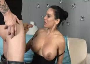 His Huge Cumload Paints Vulnerable Her Chubby Boobies