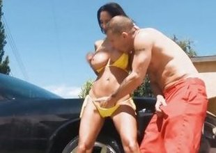 Car washing Ava Addams gets wet and horny