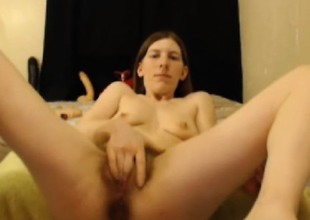 Horrific bitch has a hairy pussy coupled with beefy dildo hardcore