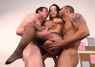 Liza del Sierra gets sandwiched hard by two job candidates