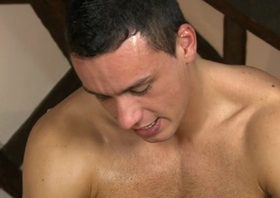Cheerful masseur is giving stud a wild irrumation session