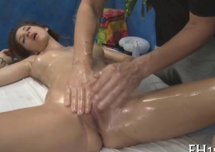 Oiled far angels shaved pussy is too good wide flannel a snook at