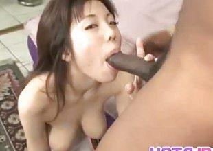 Mei Amazaki sucking Hawkshaw on touching interracial