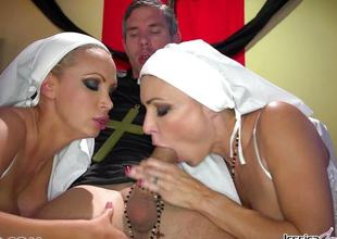 Sweltering nuns Jessica Jaymes added to Nikki Benz pleasing gods wishes