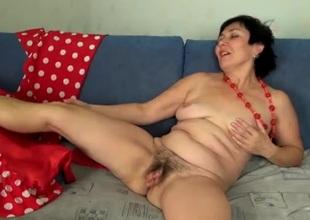 Cute aged lady masturbates her prudish vagina