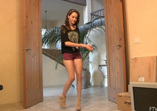 Stripping teen Rachel does a fun run through dance in the long run b for a long time ribbing their identically body