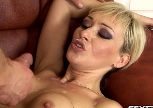 A MILF puts her toy aside as a result a guy can jackhammer her pussy