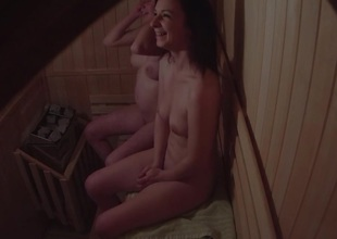 Non-professional Twosome Girls Spied in Sauna