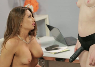 Hot babes Veronica Show-off and Stoya have a fuck their slits