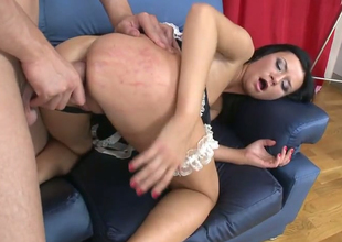 Off colour ill-lit maid Dina B gets banged by  Timo Hardy