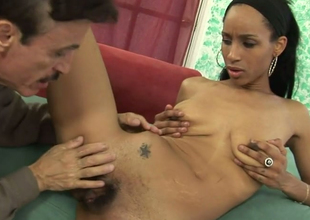 Exotic beauty Micah James fucks horn-mad elderly man on someone's skin red-hot couch