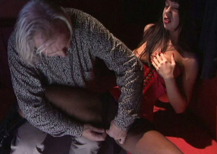 Hot brunette doll Cindy exposes will not hear of twat just with crotchless pantyhose