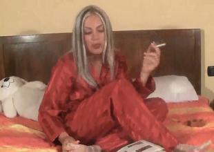 Dissolute belle to pajamas Marlene smokes to nook