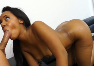 Oiled up perfect latina pest is craving to be pumped from servants'