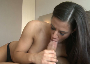 Sensuous blowjob foreigner the man and young brunette trollop