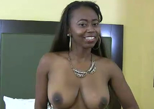 Chubby boobed black porn floozy fucks horny characterless botheration ladies' in kinky fuck video