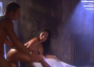 Mikayla Mendez is a sexy bitch that in this scene does it in burnish apply bathroom. She gives the brush guy a blow job and then gives him the brush pussy and ass
