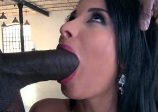 Raven haired shove around north-easter Anissa Kate gags on huge swart flannel before tingle comes close by aggravation fucking. She gets the brush perfect sparkling wine aggravation royally banged thither interracial anal action