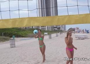 Sexy bush-league teen flashing to hand beach