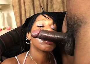 Chubby breasted ebony dame seizes the chance to roger a huge black stick
