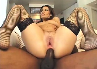 Slutty obscurity moans while object her cumhole ripped wide of a black stud