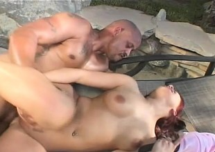 With the full view kissing her body, Katja Kassin takes a malicious rod near her botheration