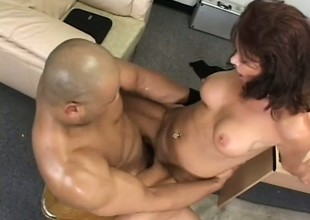 Lustful grown up lady Vanessa Videl fucks a big ebony weasel words fro get on earth one's meeting