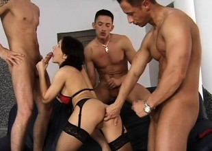 Tiffany Tims gets come into possession of a rough foursome yon a handful of insatiable dudes