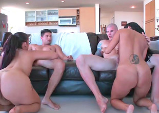 Four lovely bimbos get drilled by the powered studs