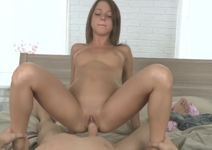 A brunette that enjoys anal sex is getting licked above moreover