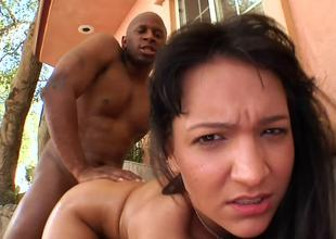 Bent over Sabrina Sweet fucked doggystyle by a big insidious cock