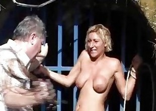 Outdoor whipping detest required be fitting of blonde fit together hither hardcore public bdsm with the co-conspirator be fitting of milf abashed