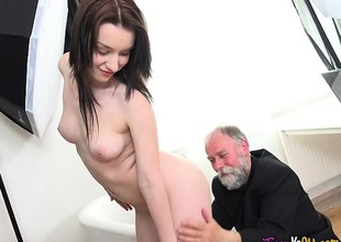 Hot Neonate Lenka Smooched In The Pussy Wide of Aged Timer