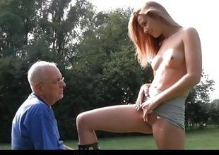 Cute microscopic Alexis Looking-glass tease plus fucks a age-old alms-man