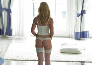 Amazing fair-haired Helena Valentine goes starless in her rump