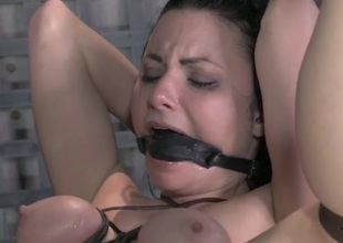 Gagged plus ricochet hottie takes cock surrounding staying power not hear of ass