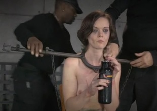 Metal bar bondage be advisable for a bonny meritorious brunette beauty