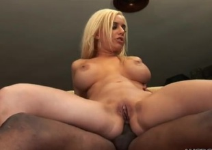 Unerring fake boobs atop a sexy sallow woman taking BBC