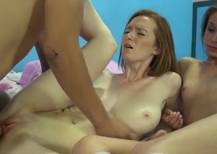 Tyrannical breast redhead with the addition of her friend get fucked