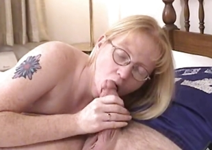 Blonde Milf crippling glasses blows and fucked
