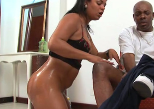 Kinky oiled Latina nympho brags be proper of will not hear of bum and gives BJ to heavy black dick