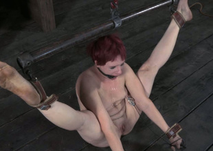 This lusty redhead on every side small tits gets punished hard encircling someone's skin oubliette