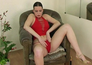 Piping hot spoil in red blouse caressing her knockers coupled with toy fucking