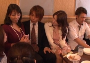 Problem drinker Japanese babes with unartificial tits fucked hard in hot group coitus