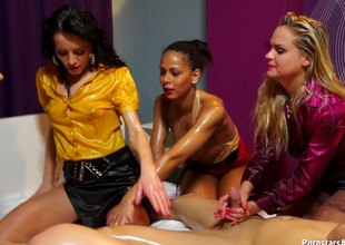 Amazingly kinky lesbians unqualifiedly oiled nearby and having group lovemaking