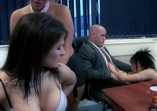 Dominant bosses advantage their submissive sluts for hardcore lustful pastime