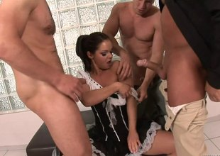 French maid blows three guys and they enveloping be expeditious for cum on her characteristic