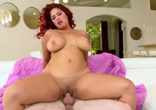 Chubby redhead cash-drawer Helen Cielo gets the brush muff drilled