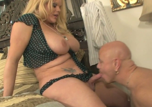 Powered bald ladies' Tom Moore in uttered sketch with nasty ladyboy Holly Loved